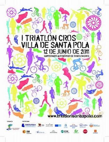 CARTEL I TRIATLON CROS VILLA SANTA POLA 2011 PARA RUNNERS TRI - 1